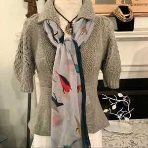 Unbranded rectangular scarf with birds motif